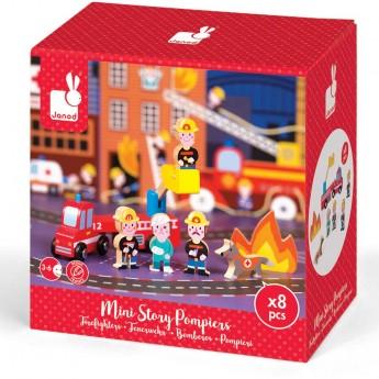 Janod Story Box Strażacy zabawka drewniana 8 elementów