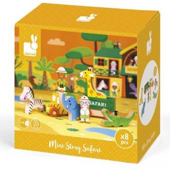 Janod Story Box Dzikie Zwierzęta zabawka drewniana 8 elementów