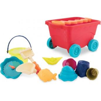 B.Toys Wavy-Wagon wózek czerwony z zabawkami do piasku