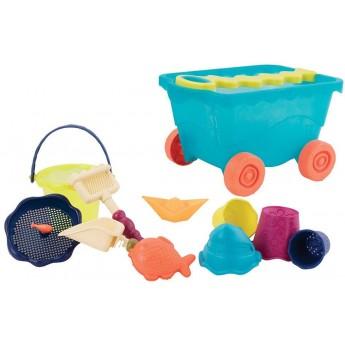 B.Toys Wavy-Wagon wózek niebieski z zabawkami do piasku
