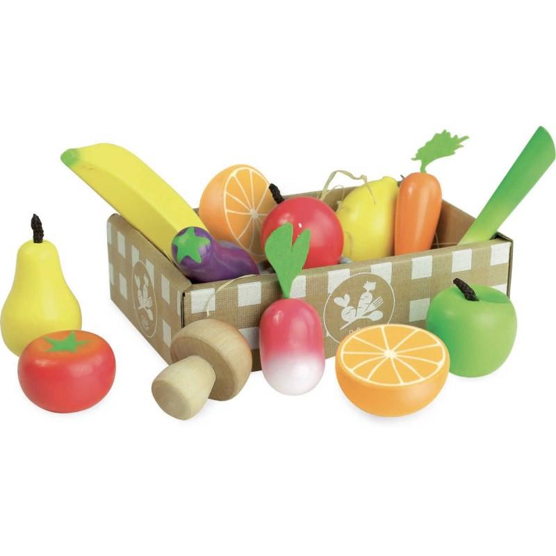 Owoce i warzywa drewniane do zabawy, Vilac