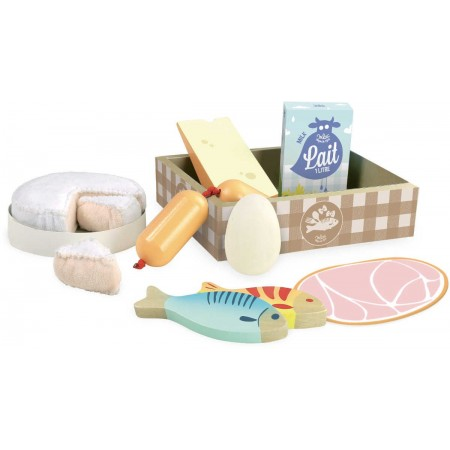 Produkty spożywcze świeże do zabawy w sklep 11 sztuk, Vilac