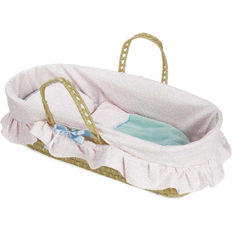 Koszyk z pościelą różową dla lalek do 50cm, Petitcollin