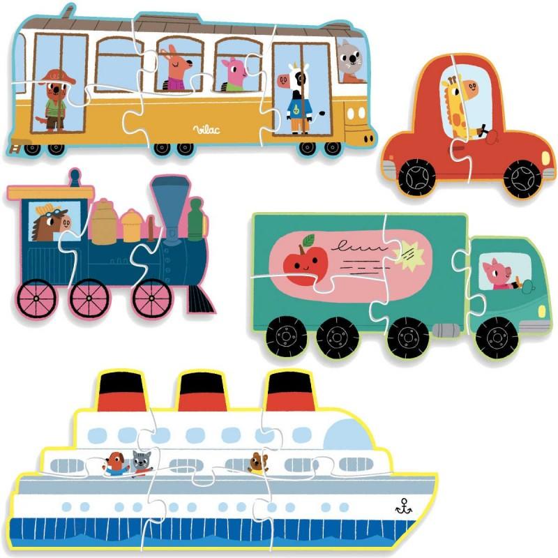 Transport 5 puzzli ewolucyjnych od 2 do 6 elementów, Vilac