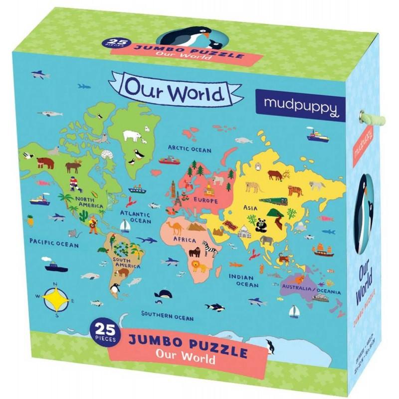 Puzzle Jumbo 25 elementów Mapa Świata, Mudpuppy