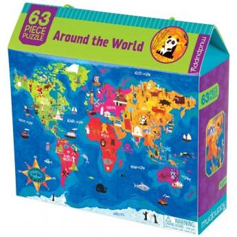 Mudpuppy puzzle Mapa Świata 63 elementy