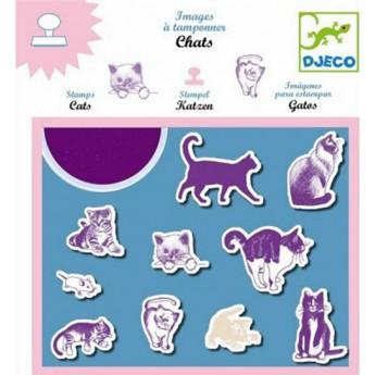 Djeco zestaw 10 stempelków piankowych Koty z tuszem
