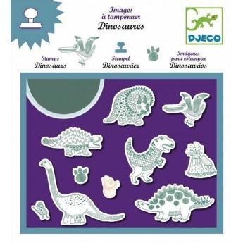 Djeco zestaw 10 stempelków piankowych Dinozaury z tuszem