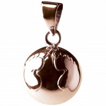 Bola wisiorek ciążowy Stópki srebrny brokatowy, Babylonia
