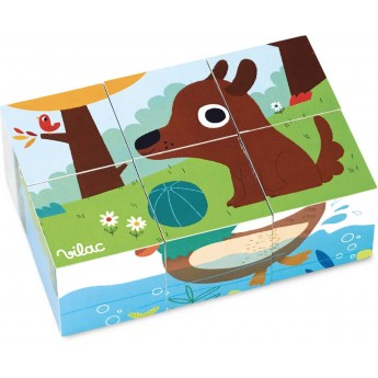 Układanka 6 drewnianych klocków Zwierzęta, Vilac