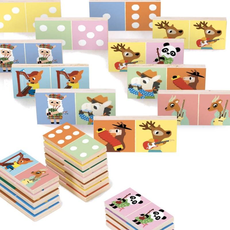 Gra domino drewniana Muzykanci 28 elementów, Vilac