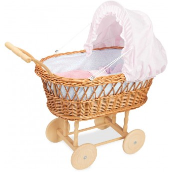 Wózek wiklinowy dla lalek pościel różowa, Petitcollin