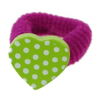 Gumka do włosów dla dzieci różowa z zielonym sercem, Vilac