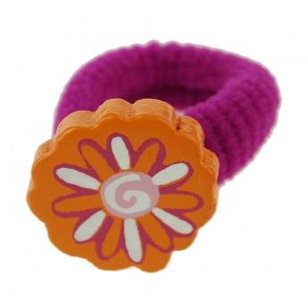 Gumka do włosów dla dzieci różowa z pomarańczowym kwiatem, Vilac