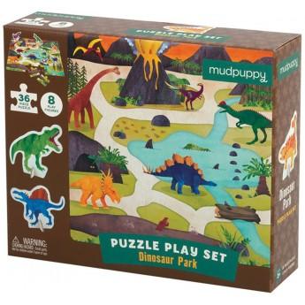 Mudpuppy Puzzle zestaw z 8 figurkami Dinozaury 3+, Mudpuppy