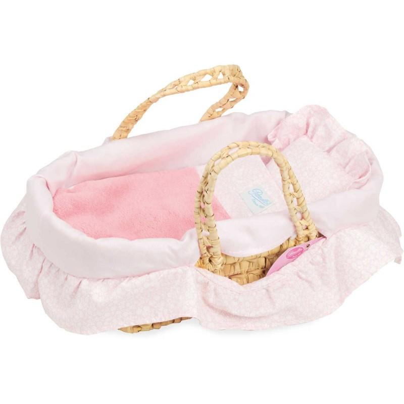Koszyk dla lalek do 28cm z pościelą różową gładką, Petitcollin
