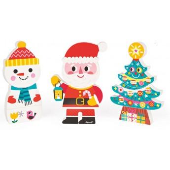 Janod Magnetyczne klocki 3D Święty Mikołaj i przyjaciele