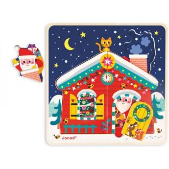 Janod Świąteczne puzzle drewniane warstwowe dla 3 latków