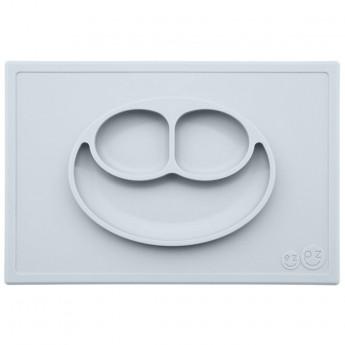 EZPZ silikonowy talerz dla dzieci Happy Mat 2w1 szary pastelowy