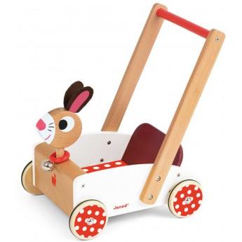 Janod wózek chodzik pchacz drewniany Szalony Królik