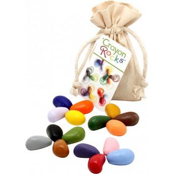 Kredki kamyczki 16 szt w bawełnianym woreczku, Crayon Rocks