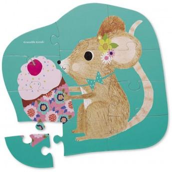 Słodka Myszka puzzle 12 el. w pudełku, Crocodile Creek