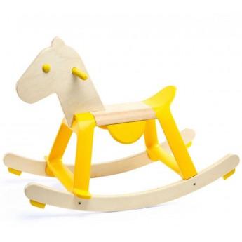 Djeco Konik na biegunach drewniany Yellow rock'it!