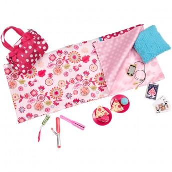 Różowe akcesoria dla lalek ze śpiworem, Our Generation