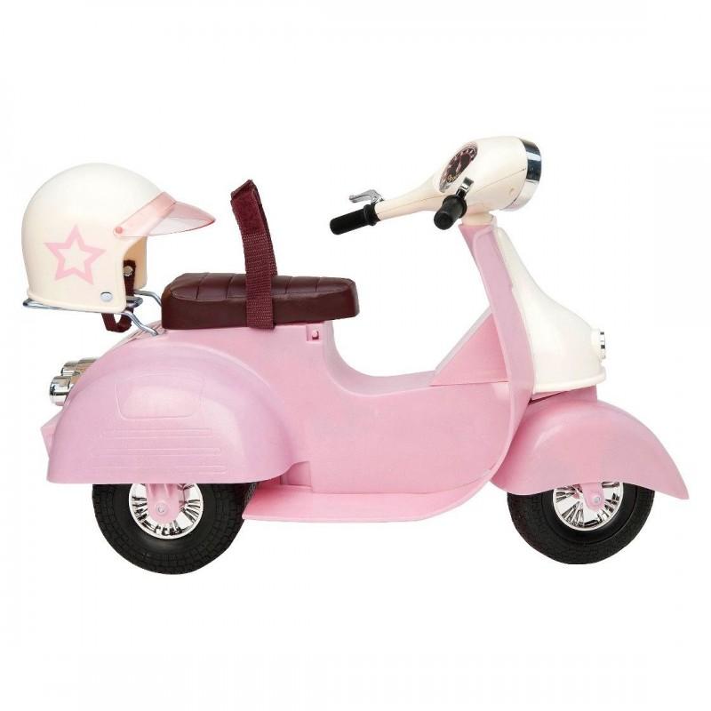 Różowy skuter i kask dla lalek, Our Generation