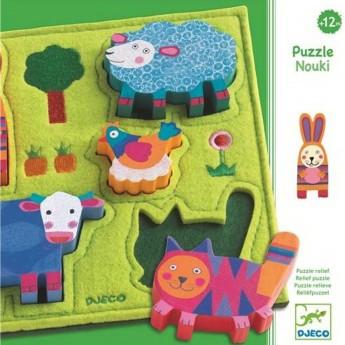 Układanka Nouki z wystającymi elementami, drewno i filc
