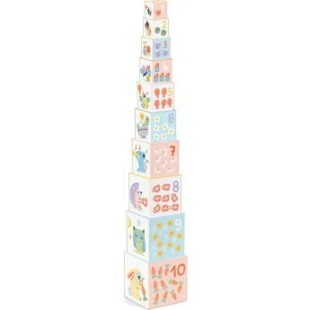 Djeco Piramida klocków Baby Bloki dla dzieci +12 mc