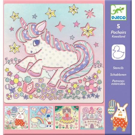 Djeco Szablony do rysowania Jednorożce dla dzieci +3