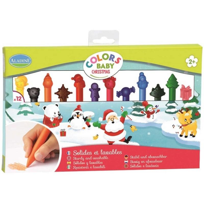 Kredki pastelowe 12szt dla 2 latka Boże Narodzenie, Aladine