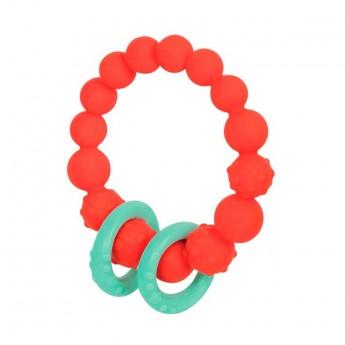 B.Toys Gryzak silikonowy pomarańczowy z pierścieniami +0