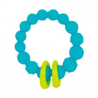 B.Toys Gryzak silikonowy turkusowy z pierścieniami +0