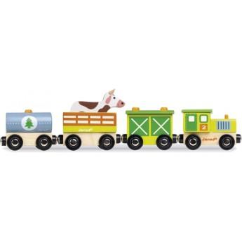 Janod Farma pociąg drewniany magnetyczny zabawka 3+
