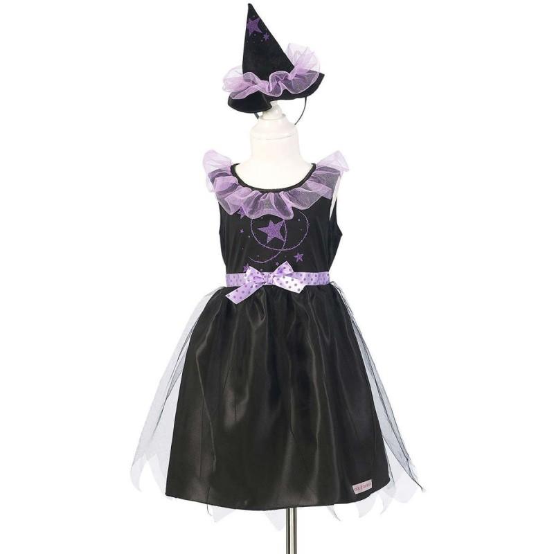 Strój czarownicy 5-7 lat Jemaya, sukienka i kapelusz, Rose & Romeo
