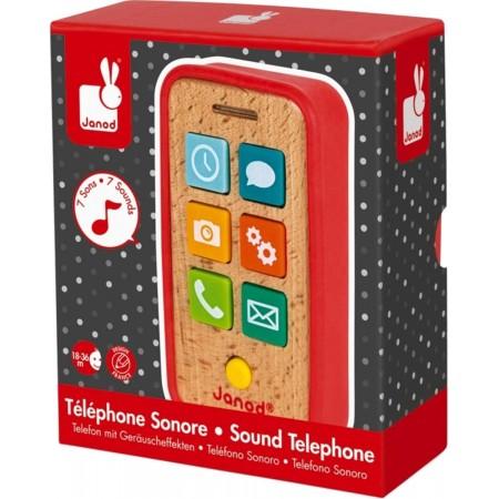 Janod Telefon drewniany z dźwiękami zabawka od 18mc