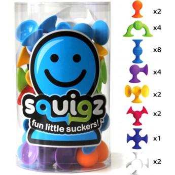 Klocki przyssawki Squigz 24 sztuk 8 kolorów, Fat Brain Toys