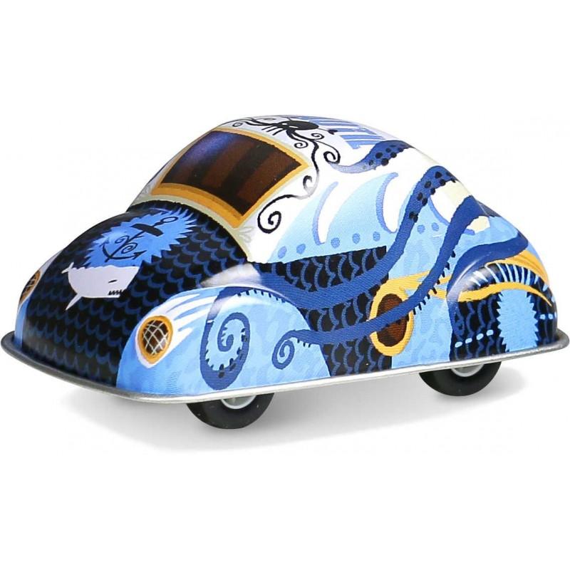 Niebieskie autko z napędem zabawka metalowa od 3 lat, Vilac