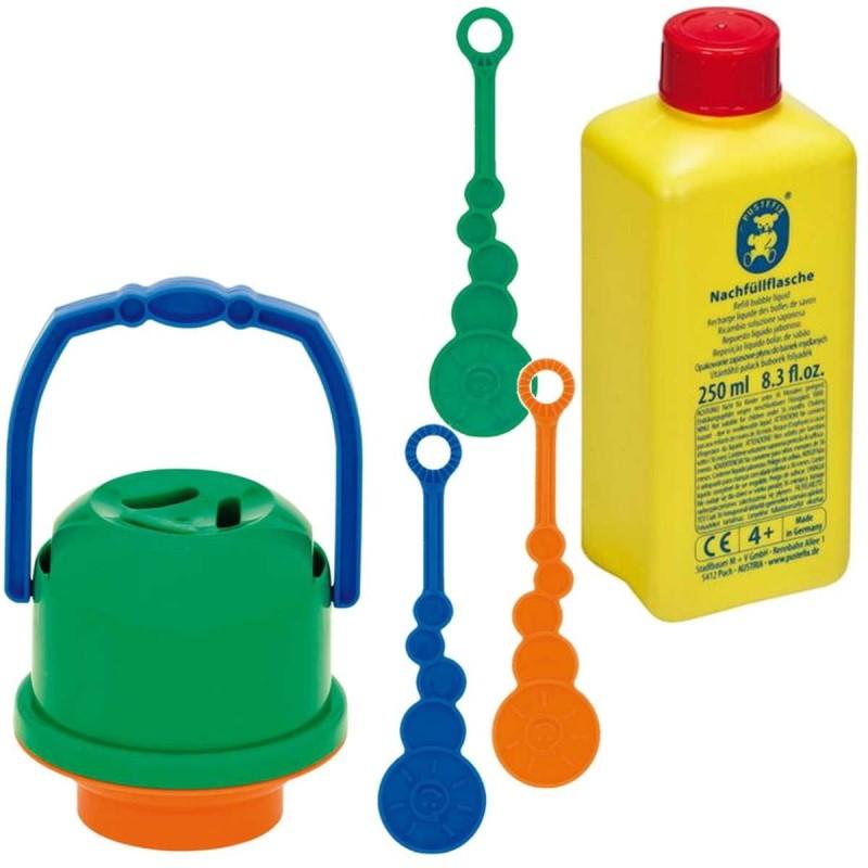 Magiczne wiaderko do robienia baniek mydlanych i 250 ml płynu Pustefix