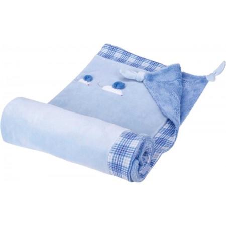 Kaloo Blue Kocyk dla niemowlaka bawełniany niebieski 120x73cm
