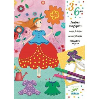 Djeco Zestaw kreatywny z magicznym pisakiem Pretty Dresses