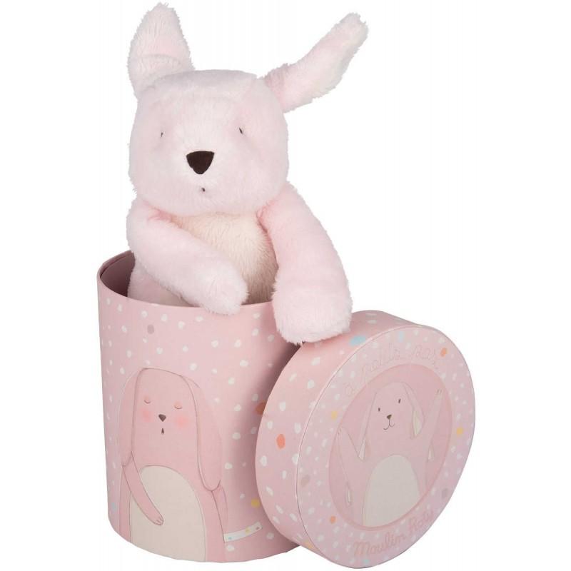 Pluszowy różowy Królik w pudełku 20cm od urodzenia