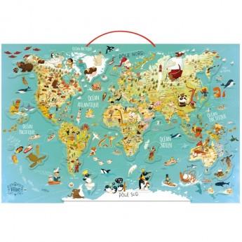 OUTLET Magnetyczna mapa świata drewniane puzzle 78 elementów