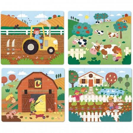 Vilac 4 drewniane puzzle ewolucyjne Farma od 2 lat