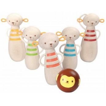 Kręgle drewniane Małpki 17cm od 3 lat, Plan Toys