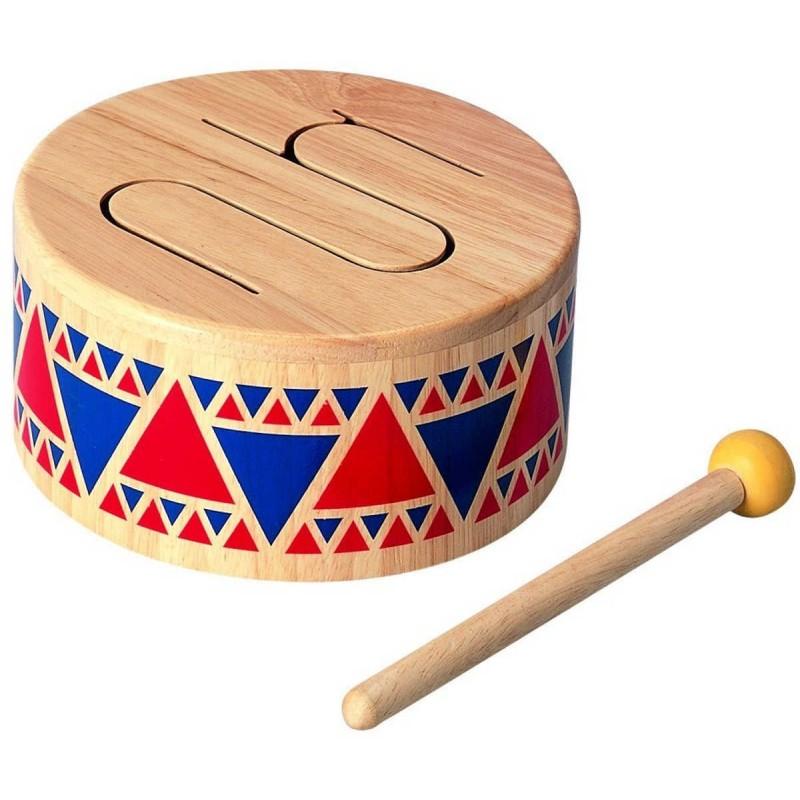 Drewniany bębenek zabawka muzyczna od 3 lat, Plan Toys