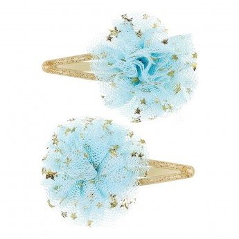 Spinki do włosów Pauly złote z błękitnym kwiatem +3lat, Souza!