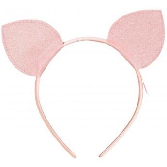 Opaska z uszami Micio różowa brokatowa dla dziewczynki, Souza!